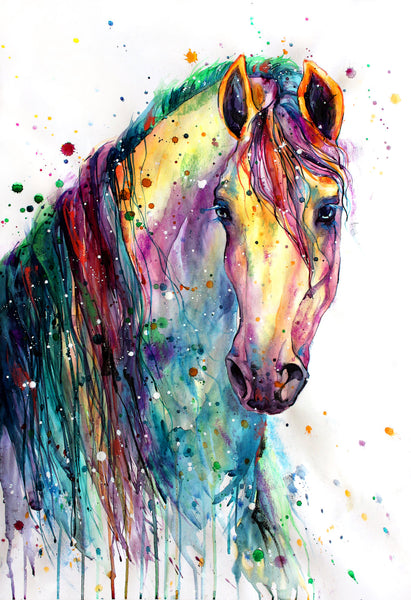 Horse Fabric, Watercolor Horse Head and Mane Fabric Panel 2046
