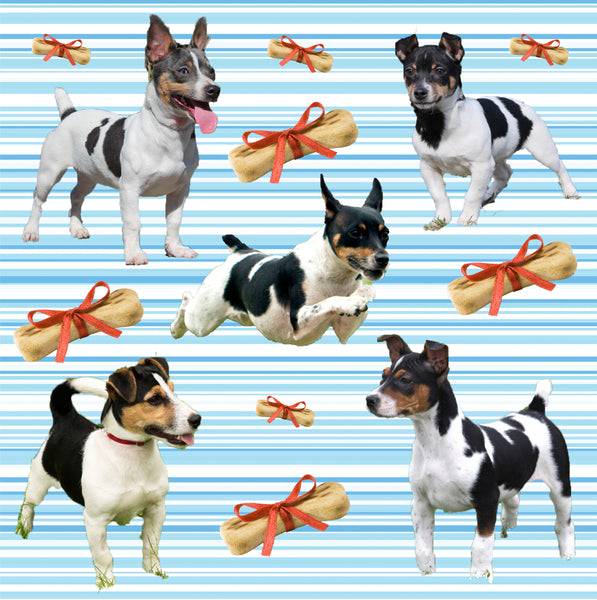 Dog Fabric, Rat Terrier Fabric with hearts, Cotton or Fleece 2138