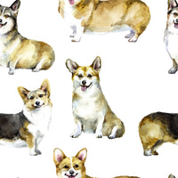 Dog Fabric, Real Watercolor Corgi Fabric, cotton or fleece 2115 - Beautiful Quilt