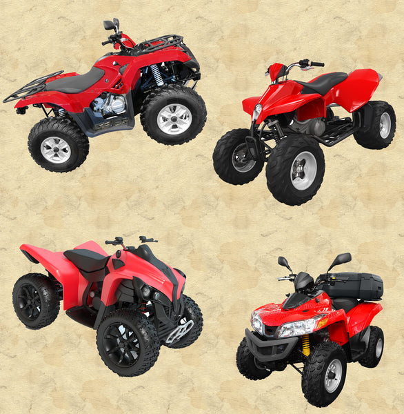 All Terrain Vehicle Fabric, Red ATV Fabric, Cotton or Fleece, 3506