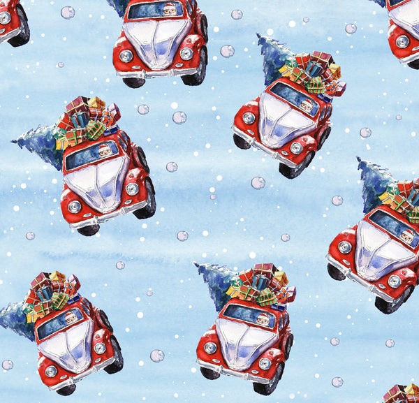 Novelty Christmas Fabric, Watercolor, Santa's Car Fabric 1316 - Beautiful Quilt