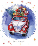Novelty Christmas Fabric, Watercolor Santa's Car 1315 - Beautiful Quilt