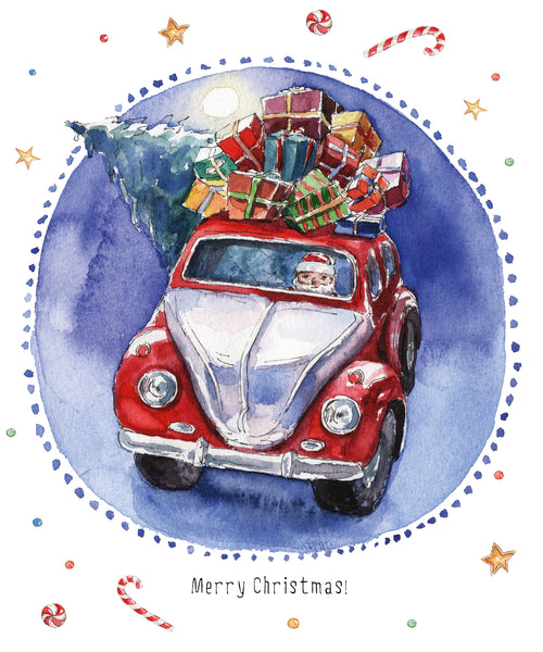 Novelty Christmas Fabric, Watercolor Santa's Car 1315
