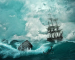Ocean Fabric, Clipper Ship in a Storm 1118