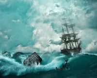 Ocean Fabric, Clipper Ship in a Storm 1118 - Beautiful Quilt