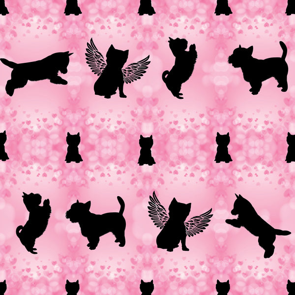 Dog Fabric, Westie Fabric on Pink with hearts, Cotton or Fleece, 3790 - Beautiful Quilt