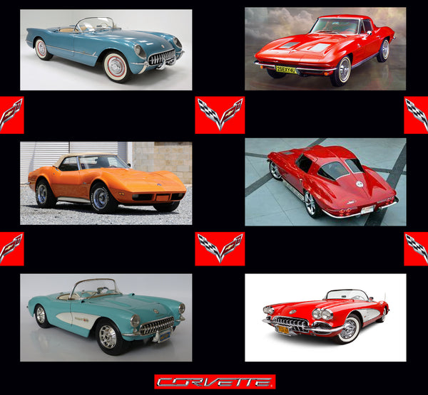 Car Fabric, Corvette Fabric Panel of different ages, Cotton or Fleece. 1856 - Beautiful Quilt