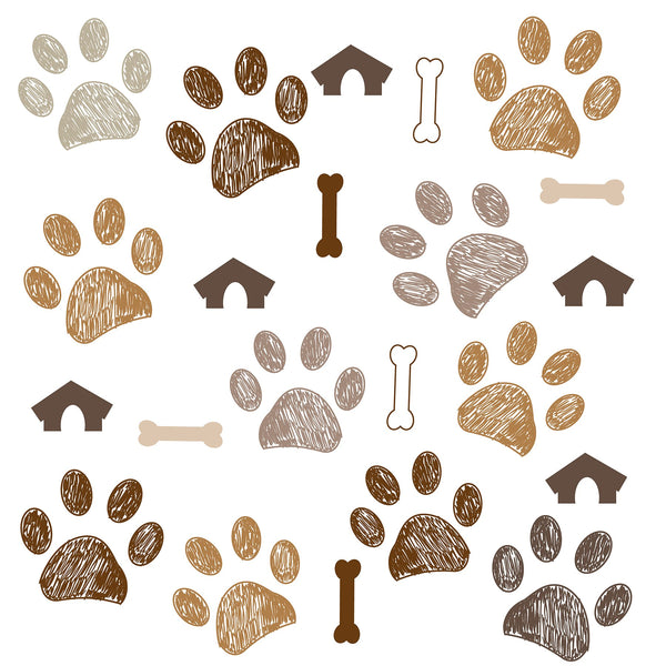 Dog Fabric, Paw Fabric,  Bones and Dog Houses, Cotton or Fleece 8001