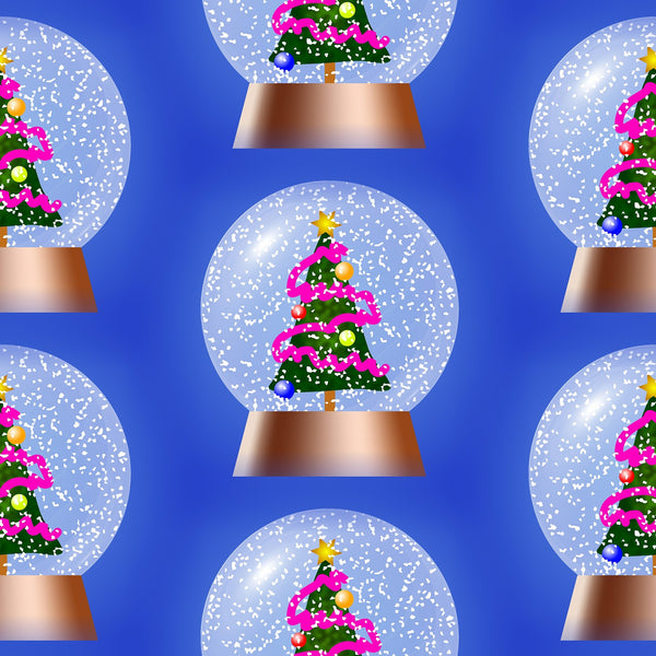 Novelty Christmas Fabric, Snow Globe with Christmas Tree, Cotton or Fleece 1293 - Beautiful Quilt