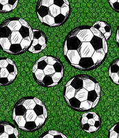 Sports Fabric, Soccer Balls and Net, Cotton or Fleece 1633 - Beautiful Quilt