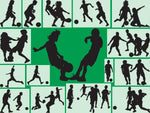 Soccer Fabric, Sihouettes of Soccer Kids Fabrics 1269