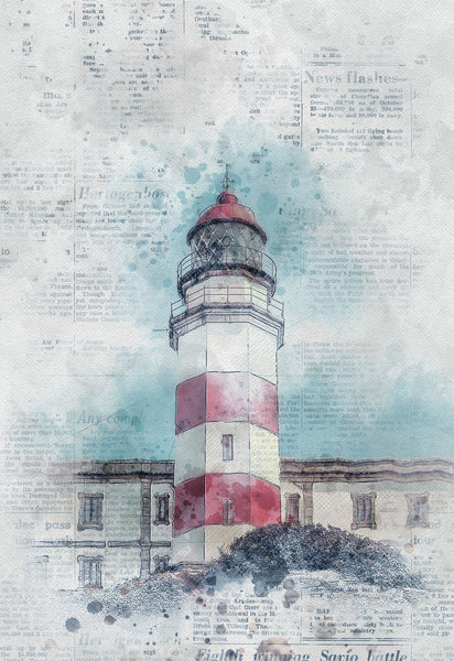 Light House Fabric Panel Watercolor 1123