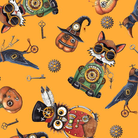 Halloween Fabric, Steampunk Fabric, Golden Orange Background 2275 - Beautiful Quilt