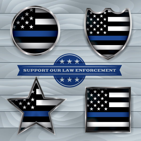 Police Fabric, Support our Law Enforcement, Yardage, Cotton or Fleece 1454