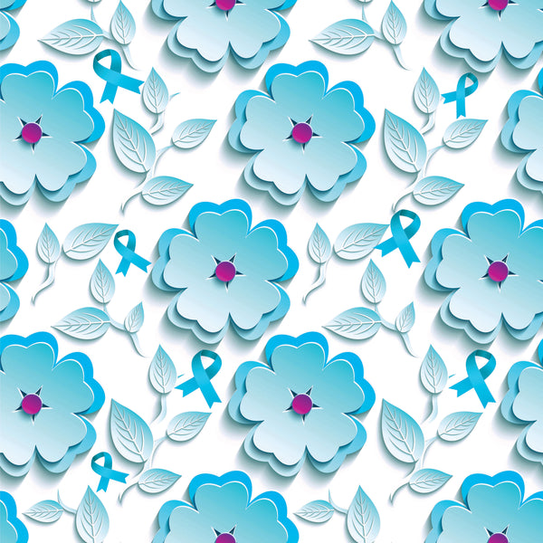 Cancer Fabric, Ovarian Cancer Fabric, Teal Daisy and Ribbon 1003 - Beautiful Quilt