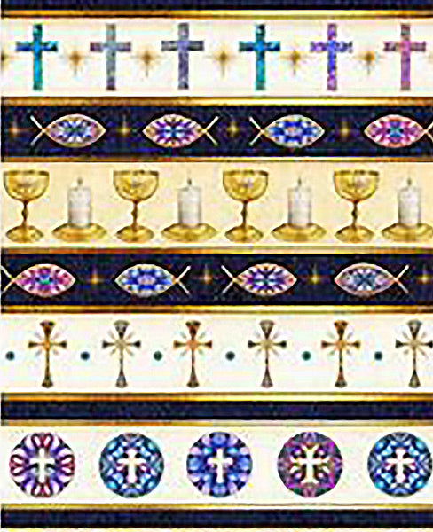 Religious Fabric, Christian Symbol Border Fabric, 2100 - Beautiful Quilt