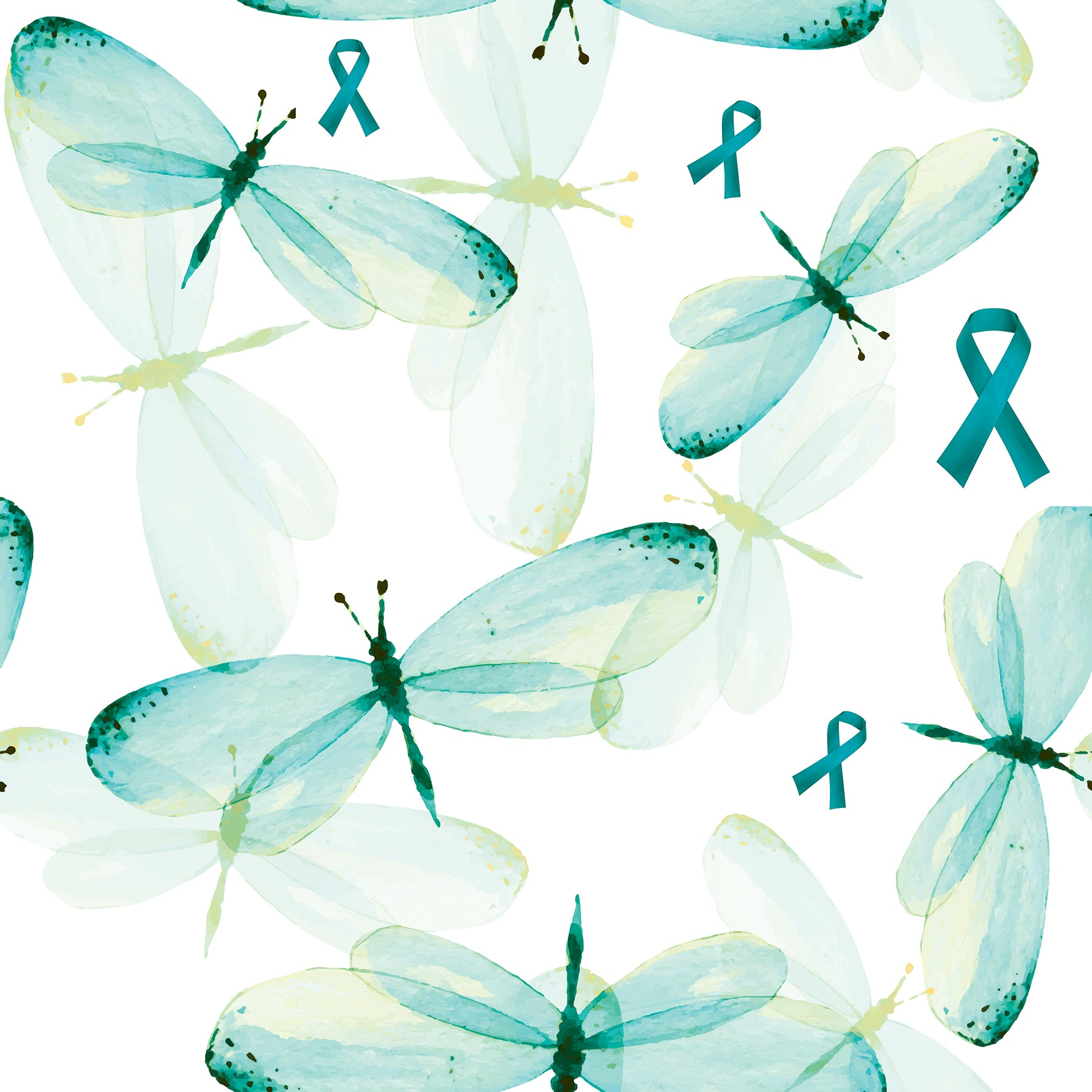 Cancer Fabric Ovarian Cancer Dragonflies And Ribbons Cotton And Fle Beautiful Quilt