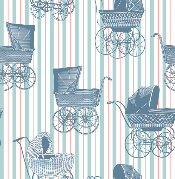 Baby Fabric, Vintage Baby Boy Fabric, Baby Carriage Blue 1007 - Beautiful Quilt