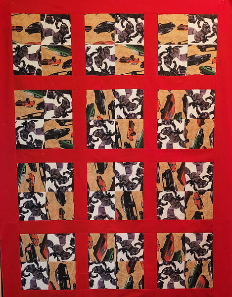 Gallery, Cars and Pit Bull Quilt by Stephany Warnsley-Not For Sale-3775