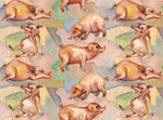 Pig Fabric, Watercolored pigs in all kids of poses, Cotton or Fleece 1810