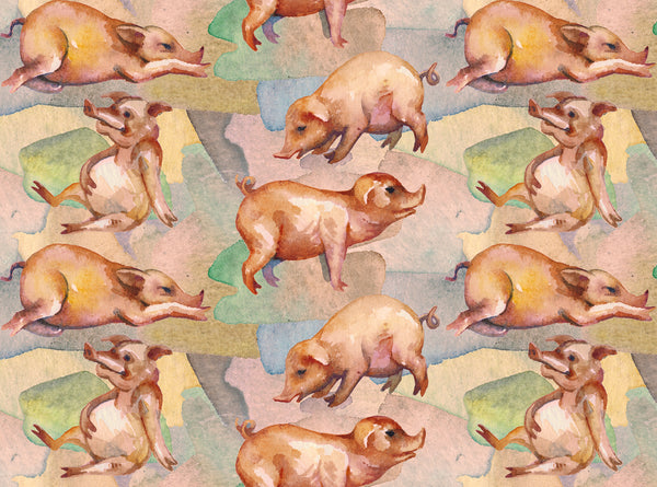 Pig Fabric, Watercolored pigs in all kinds of poses, Cotton or Fleece 1810 - Beautiful Quilt