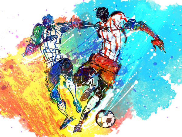 Sports Fabric, Watercolor Soccer Fabric Panel, 2114