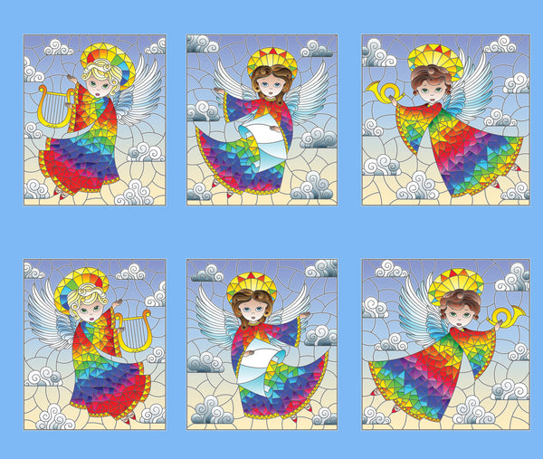 Angel Fabric, Angel Fabric Stained Glass, Cotton or Fleece 1729 - Beautiful Quilt