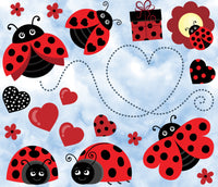 Bug Fabric, Ladybug Fabric on a Cloud Background, Cotton or Fleece 1748 - Beautiful Quilt