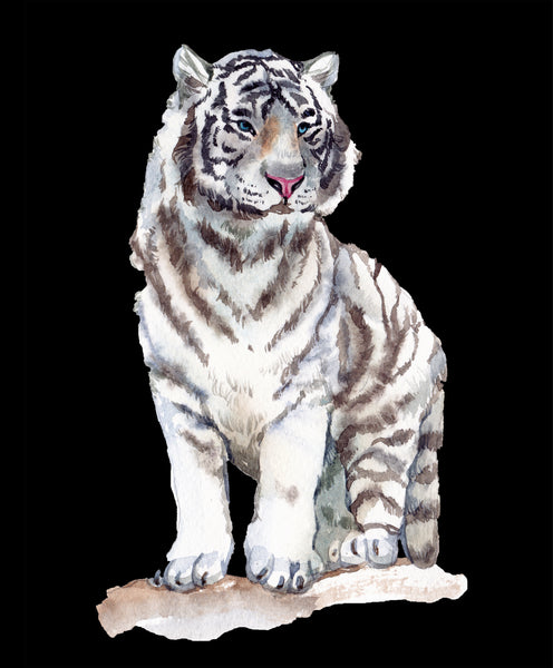 Animal Fabric, White Tiger Fabric Panel, Watercolor 2059 - Beautiful Quilt
