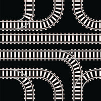 Train Fabric, White Train Track Fabric on Black, Cotton or Fleece 1641 - Beautiful Quilt