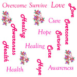 Breast  Cancer Fabric, Words and Flowers, Cotton or Fleece, 3553 - Beautiful Quilt