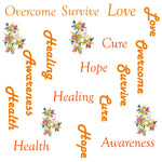 Childhood Cancer Fabric, Words and Flowers, Cotton or Fleece, 3553