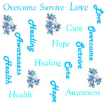 Ovarian  Cancer Fabric, Words and Flowers, Cotton or Fleece, 3555 - Beautiful Quilt