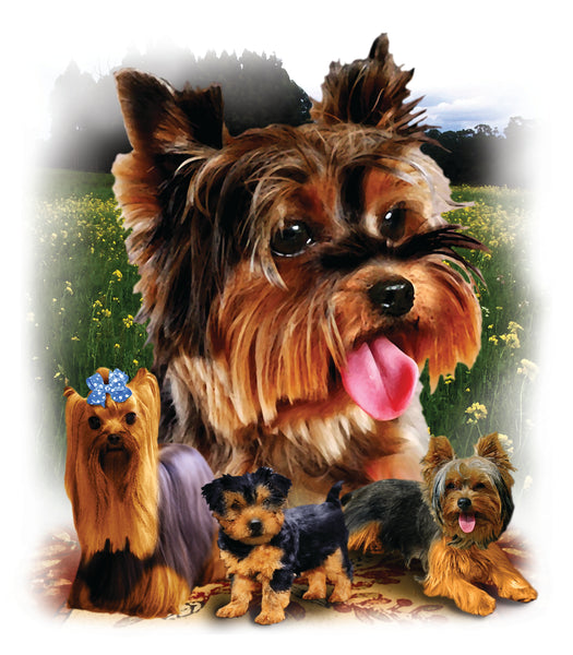 Dog Fabric, Yorkshire Terrier Fabric, AKA Yorkie Fabric Panel 3339 - Beautiful Quilt