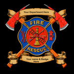 Firefighter Fabric, Fire Badge Fabric on Black 1603 - Beautiful Quilt