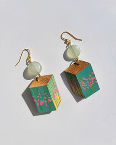 Small Floral Light Green Earrings