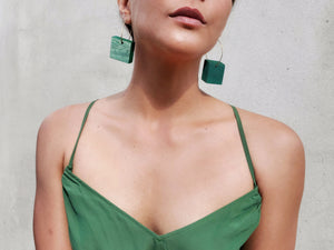 Green Mininalist Joy Earrings