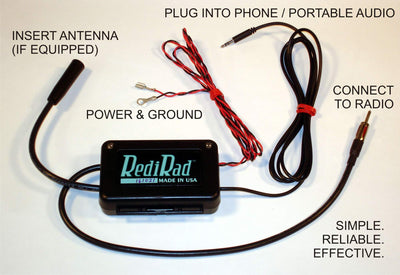 RediRad FM Antenna Bypass FM Modulator Aux Input for Classic Car Factory or Aftermarket Radios