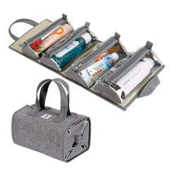 Foldable travel bag with compartments for toys and more
