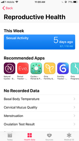 Apple HealthKit Sex and Reproductive Health Tracking