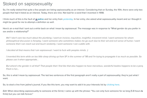 Sapiosexual WolfieBoy LiveJournal Post