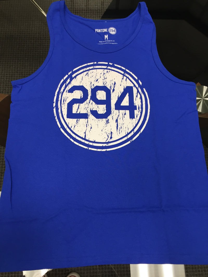 Distressed P294 Blue Tank Top- Mens