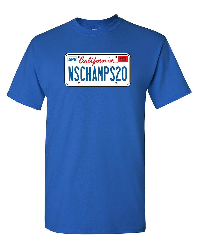 California License Plate WSCHAMPS20 Blue T-shirt