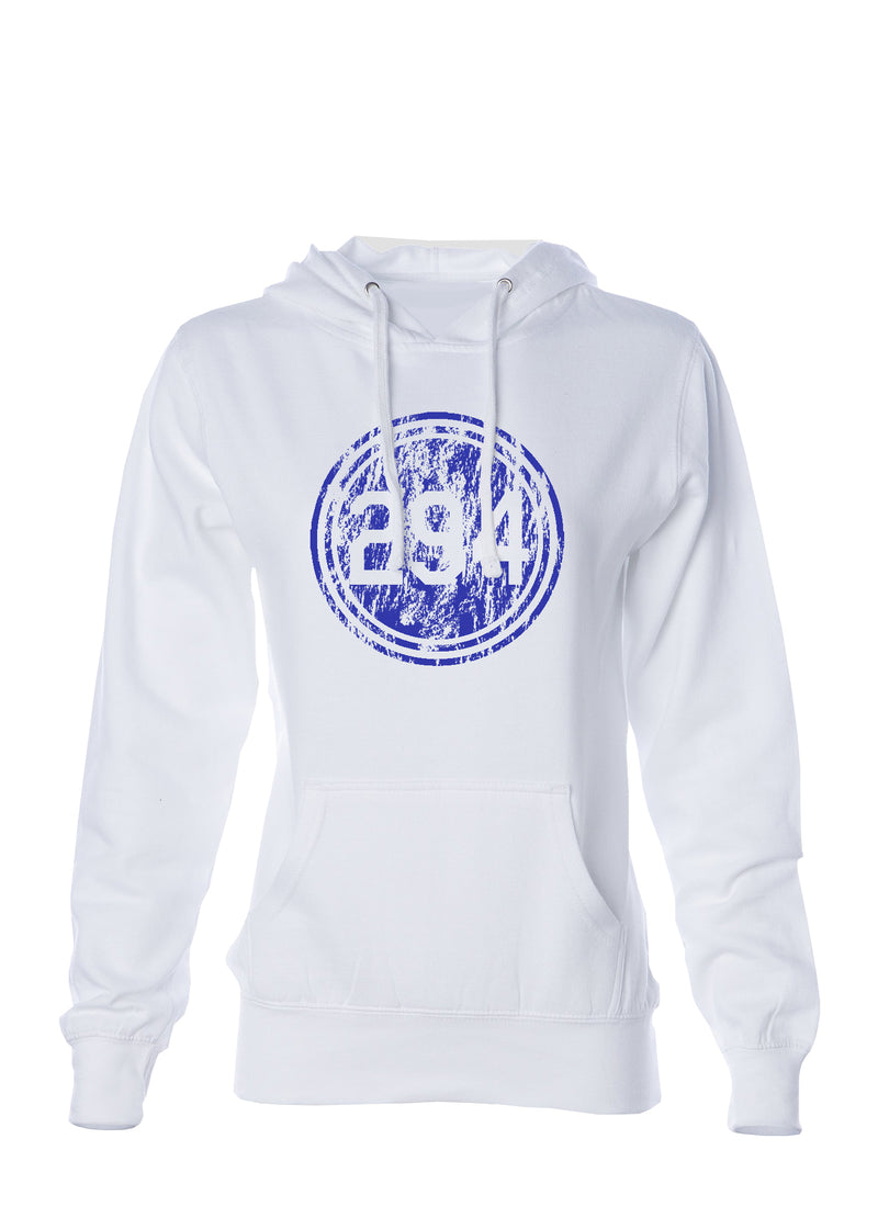 White Distressed P294 Logo Sweatshirt- Womens