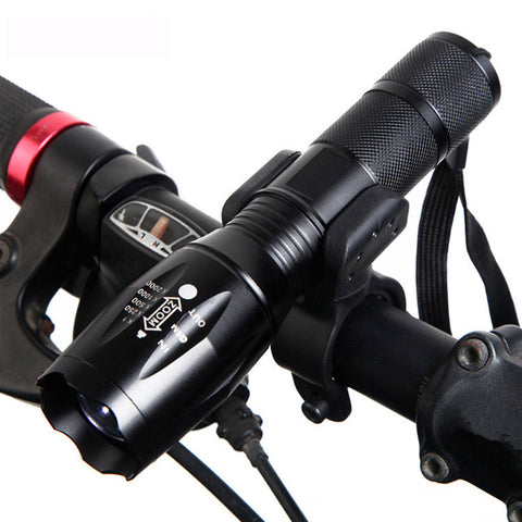 TACTICAL FLASHLIGHT WITH 5 MODES - SUPER STRONG + WATERPROOF + BIKE MOUNT