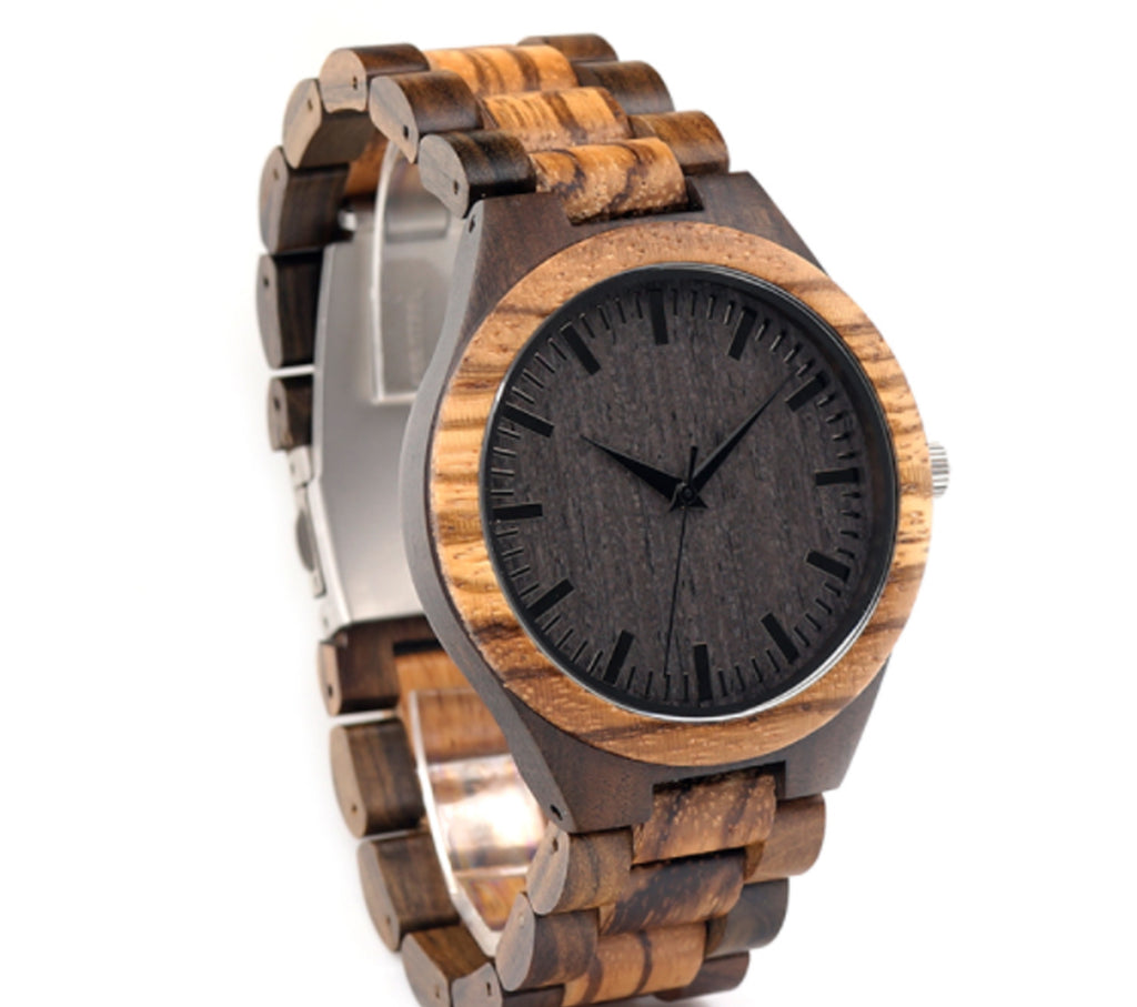 Luxury Men's Walnut and Ebony Wooden Watch