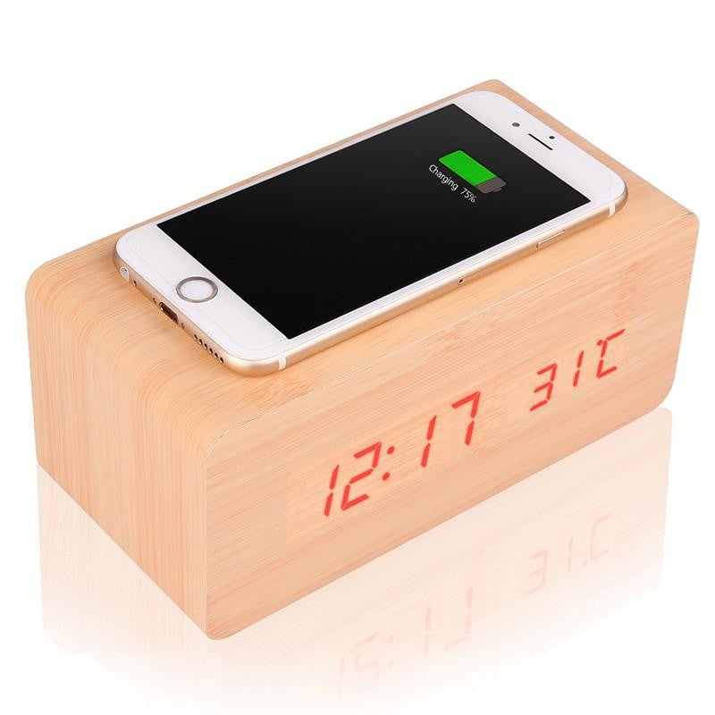 Multifunctional LED Wood Clock & Wireless Charger