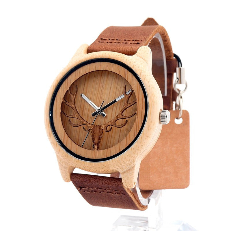 Men Vintage Deer Head Skeleton Bamboo Watch