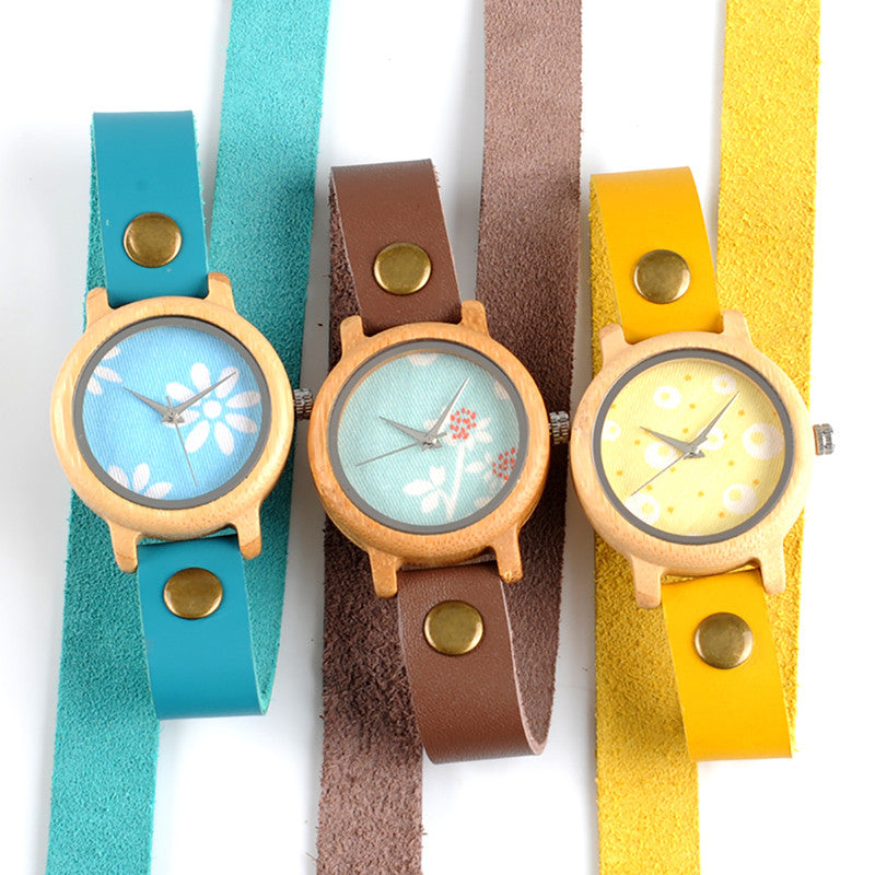 Women Colorful Long Leather Strap Bamboo Watch