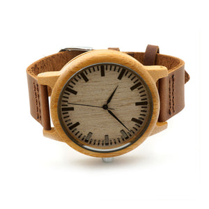 Natural Leather Strap Bamboo Wood Watch